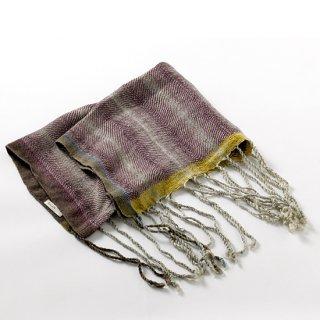 ny104 リトアニアの手織りリネンスカーフ モーブ系の色合いに長いフリンジがポイント