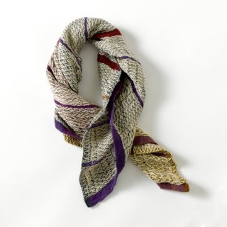 ny101 リトアニアの手織りリネンスカーフ ベージュ地に紫や赤のライン