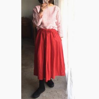 リトアニアリネン ふわふわスカート 薄めリネンのミモレ丈スカート