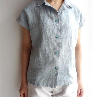 edt004 コンパクトなサイズ感 フレンチスリーブの開襟シャツ