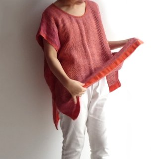 nyc002 手織りリネン 明るいオレンジ色のトップス