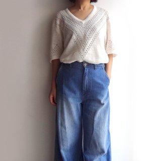 be003 ヴィンテージのリネン糸で編んだ、透かし編みニットセーター おばあちゃんニット