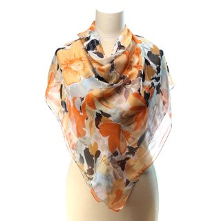 vs6067 ヴィンテージスカーフ 薄く透明感のある花柄 大判スカーフ