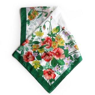 vs0001 ヴィンテージスカーフ パキッとしたグリーンの色合いが使いやすくオシャレなスカーフ