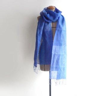 透け感のある美しい手織りリネンストール ブルーと水色のグラデーション