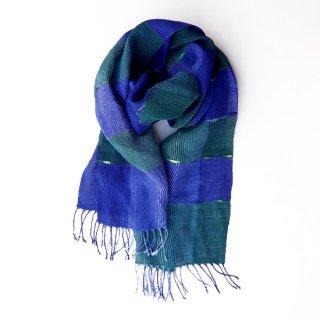 透け感のある美しい手織りリネンストール ブルーとグリーンの色合い