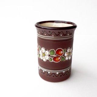 ウクライナ 刺繍のような凹凸柄が素敵な陶器 小さなカップ 花瓶