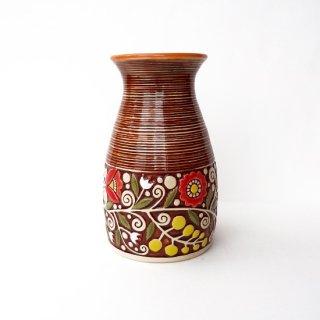 ウクライナ 刺繍のような凹凸柄が素敵な陶器 大きな花瓶