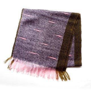 リトアニア 薄くて柔らかな手織りのウールストール マフラー カーキ&ピンク