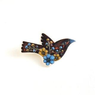 adm011 リトアニアの森の物語がぎゅっと詰まった陶器のブローチ シックな色合いの小鳥
