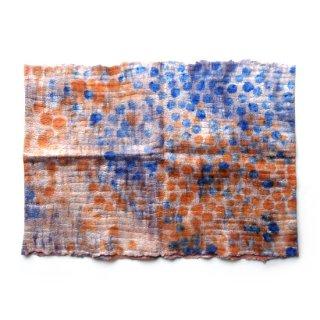 afs001 リトアニア 手づくりのフェルトスヌード ピュアシルク×メリノウール オレンジとブルーのハンドペイント