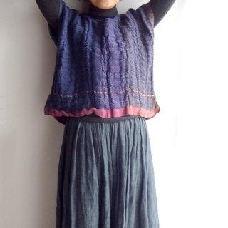 nyc001 手織りリネン シュリンクした織り模様が特徴的なコンパクトトップス