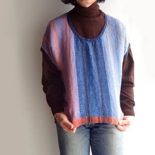 nyc011 手織りリネン 海のような夕日のような美しい色合いのトップス
