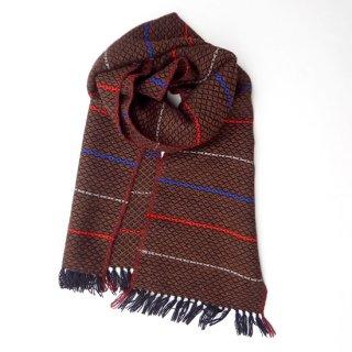 リトアニア Audejaの手織りウール 雰囲気のある手織りマフラー メンズライクな茶系ベース