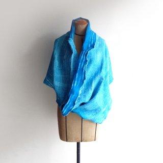 afs014 リトアニア 手づくりのフェルトスヌード メリノウール×コットン ぱきっとした色合いターコイズブルー