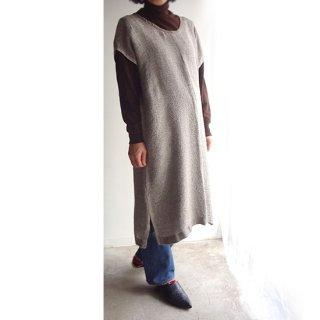 nyc013 手織りリネン うっすらとしたグレーの上品な色合いのワンピース
