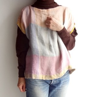 nyc014 手織りリネン うっすらと色づくキキララカラーのトップスA