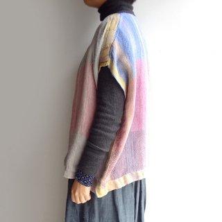 nyc015 手織りリネン うっすらと色づくキキララカラーのトップスB