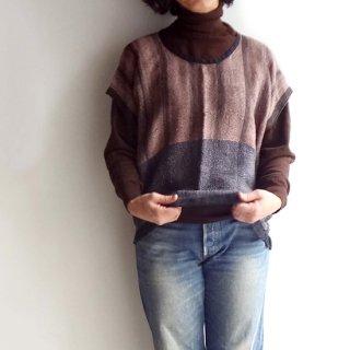 nyc016 手織りリネントップス ブラウンとグレーの落ち着いた色合いA