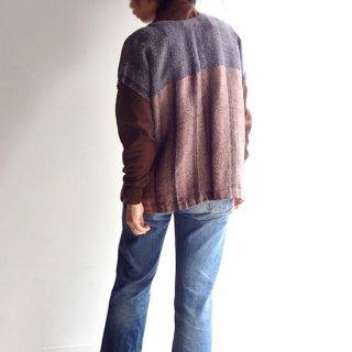 nyc017 手織りリネントップス ブラウンとグレーの落ち着いた色合いB