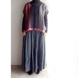nyc019 手織りリネントップス 黒とピンクのくっきりとした色合いB