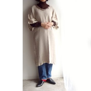 nyc020 手織りリネンワンピース ナチュラルカラーの袖付きタイプA