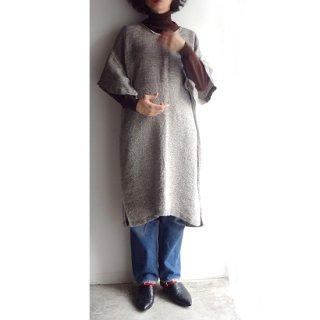 nyc021 手織りリネンワンピース グレーとナチュラルカラーのグラデーション 袖付きタイプ