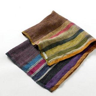 ny103 リトアニアの手織りリネンスカーフ シックな色合い、様々な色のストライプ