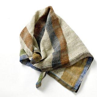ny109 リトアニアの手織りリネンスカーフ ベージュや茶系のベーシックな色合い