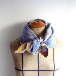 ny770 リトアニアの手織りリネンスカーフ 優しいブルーとイエローの色合い