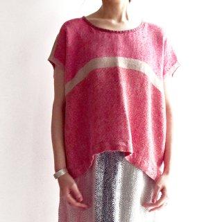 nyc023 手織りリネントップス コーラルピンク系のパッと目を引く明るい色合い