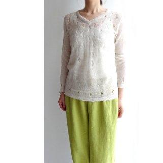 be004 ヴィンテージのリネン糸で編んだ、透かし編みニットセーター おばあちゃんニット 長袖