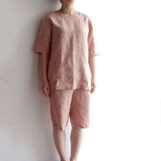 ユニセックスのリネンセットアップ 半袖Tシャツ&ショートパンツ ワンマイルウェア 家着 リラックスウェア パジャマ