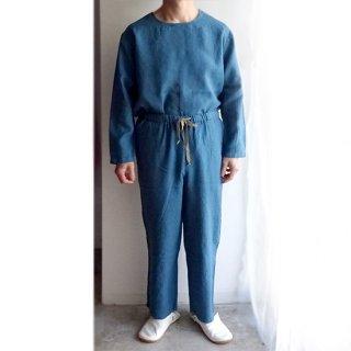 ユニセックスのリネンセットアップ 長袖Tシャツ&ロングパンツ ワンマイルウェア 家着 リラックスウェア パジャマ