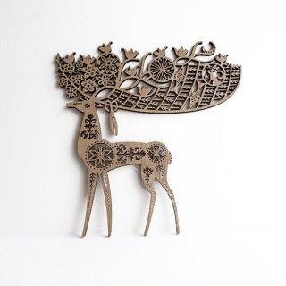 or371 リトアニア EtnoDesignエトノデザイン 木製オーナメント ゆりかごのツノを持つ鹿