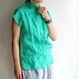id011 フレンチ袖の衿つきカラーシャツ