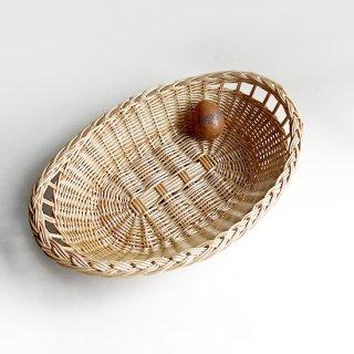 bs042 リトアニアのかご 平べったくて使いやすい、楕円形のパンかご