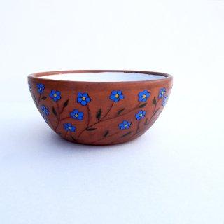 rgn013 リトアニア Reginaさんの黒陶器 ブラックセラミック 青いお花の器