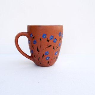 rgn015 リトアニア Reginaさんの黒陶器 ブラックセラミック 青いお花のマグカップ