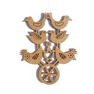 or077 リトアニア EtnoDesign 木製オーナメント  祝福する6羽の鳥たち とり トリ