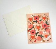 アメリカRifle Paper グリーティングカード ピンクローズハート バレンタインにも