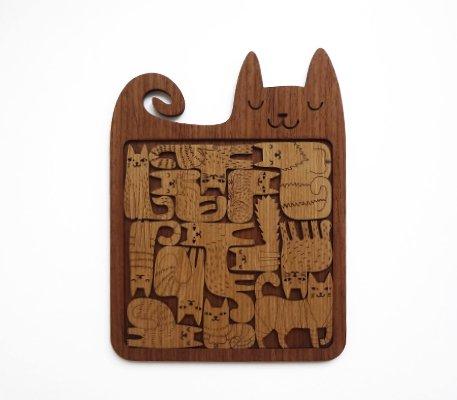 EtnoDesign リトアニアの木のパズル 13匹の幸せなネコたち ねこ 猫 ネコパズル
