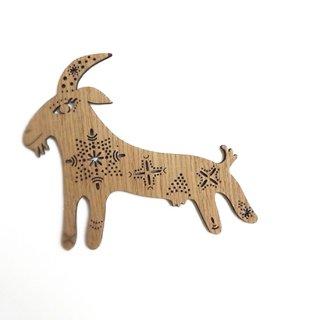 or312 リトアニア EtnoDesignエトノデザイン 木製オーナメント 乳母のヤギ 山羊 やぎ