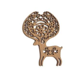 or060 リトアニア EtnoDesign 木製オーナメント 光のツノを持つ頭でっかちなシカ トナカイ 鹿