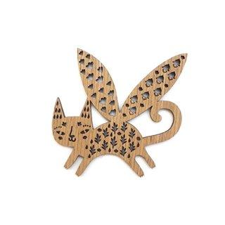 or094 リトアニア EtnoDesignエトノデザイン 木製オーナメント  翼のはえたネコ 猫 ねこ