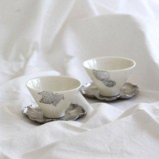 錫三角茶器&花型トレーセット