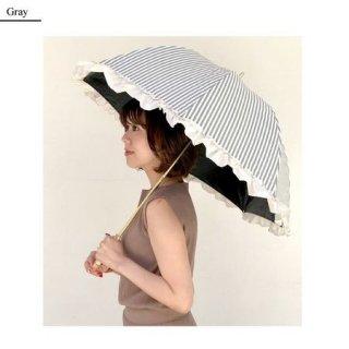 晴雨兼用 フリルストライプ 遮光率100% 折傘