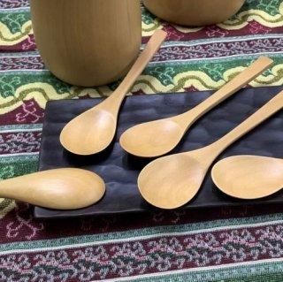 【送料無料】 木製 かわいい ナチュラルSスプーン 5本セット ツゲ製