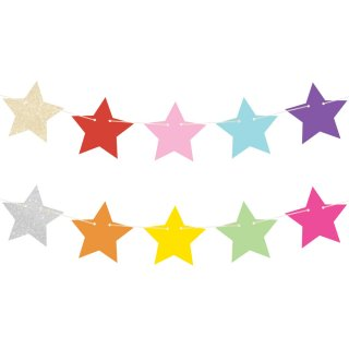 【illume partyware】グリッター☆スターガーランド レインボー&ゴールド&シルバー  星型ガーランド(ID-RSGAR-32)