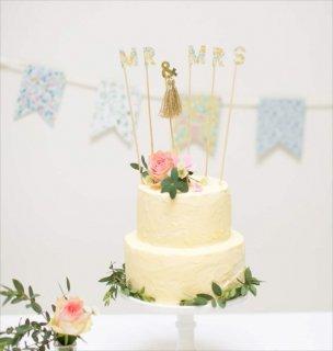 【Meri Meri】リバティー柄 MR&MRSケーキトッパー  花柄 小花柄 Liberty print パーティー 誕生日 デコレーション ケーキ プレ花嫁 (45-2209)